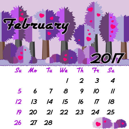 seasonal forest: Calendar design grid with seasonal forest in flat style and dates of winter month February 2017. Vector illustration Illustration