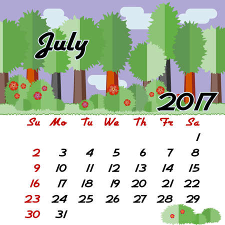 seasonal forest: Calendar design grid with seasonal forest in flat style and dates of summer month July 2017. Vector illustration