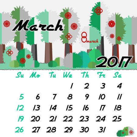 seasonal forest: Calendar design grid with seasonal forest in flat style and dates of spring month March 2017. Vector illustration