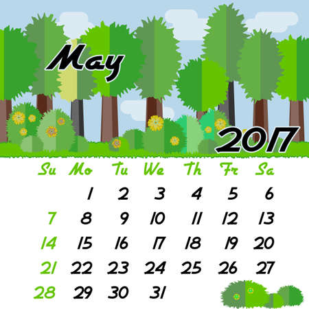 seasonal forest: Calendar design grid with seasonal forest in flat style and dates of spring month May 2017. Vector illustration