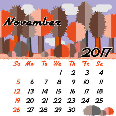seasonal forest: Calendar design grid with seasonal forest in flat style and dates of autumn month November 2017. Vector illustration Illustration