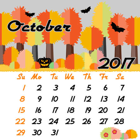 seasonal forest: Calendar design grid with seasonal forest in flat style and dates of autumn month October 2017. Vector illustration