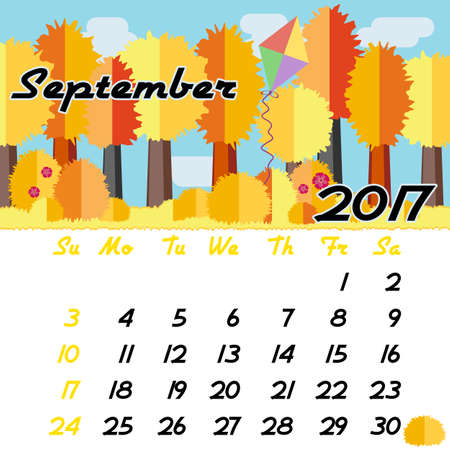 seasonal forest: Calendar design grid with seasonal forest in flat style and dates of autumn month September 2017. Vector illustration Illustration