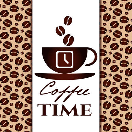 break in: Its coffee time conceptual card. Coffee cup with time ans coffee beans on white banner. Design card, poster in retro style for coffee break, shop or cafe. Vector illustration