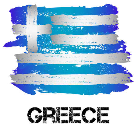 grecian: Flag of Greece from brush strokes in grunge style isolated on white background. Country in Southern Europe. Vector illustration Illustration