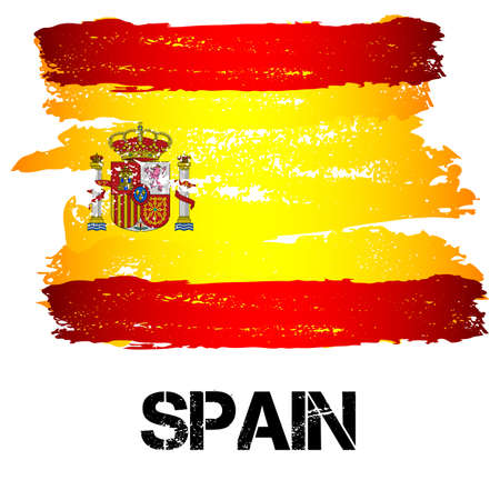 southern europe: Flag of Spain from brush strokes in grunge style isolated on white background. Country in Southern Europe. Vector illustration