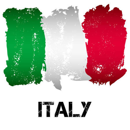 italy background: Flag of Italy from brush strokes in grunge style isolated on white background. Country in Southern Europe. Vector illustration