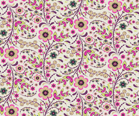 pinkish: Seamless floral pattern with ornamental flowers in Khokhloma style. Floral design. Traditional russian Hohloma ornament with flowers. Fresh light vintage pinkish colors. Vector illustration Illustration