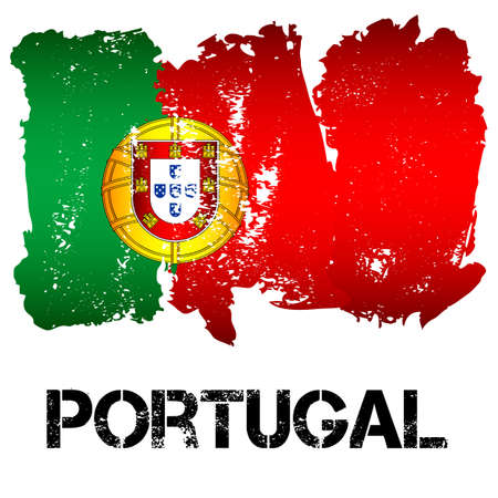 Flag of Portugal from brush strokes in grunge style isolated on white background. Country in Southern Europe. Vector illustration Illustration