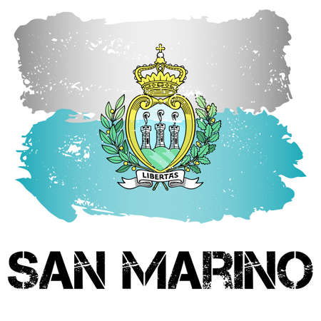 southern europe: Flag of San Marino from brush strokes in grunge style isolated on white background. Country in Southern Europe. Vector illustration