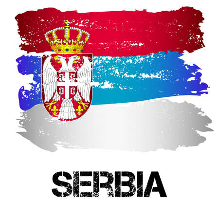 southern europe: Flag of Serbia from brush strokes in grunge style isolated on white background. Country in Southern Europe. Vector illustration Illustration