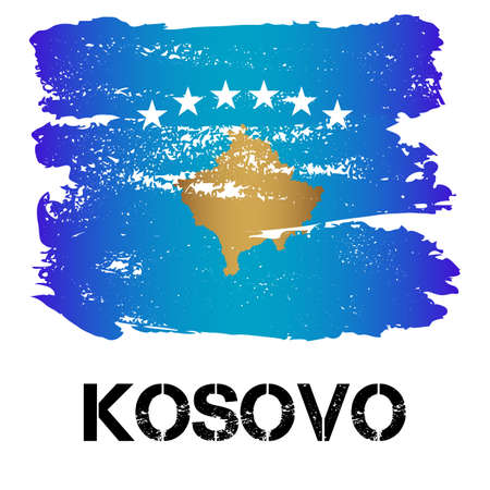 eastern europe: Flag of Kosovo from brush strokes in grunge style isolated on white background. Eastern Europe state with limited recognition. Vector illustration Illustration