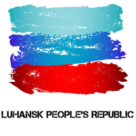 eastern europe: Flag of Luhansk Peoples Republic from brush strokes in grunge style isolated on white background. Eastern Europe state with limited recognition. Vector illustration Illustration