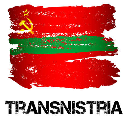 eastern europe: Flag of Transnistria from brush strokes in grunge style isolated on white background. Eastern Europe state with limited recognition. Vector illustration