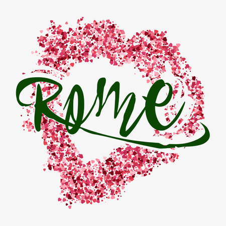 Print with lettering about Rome and red glitter in shape of heart on grey background. Pattern for fabric textiles, clothing, shirts. Vector illustration Illustration