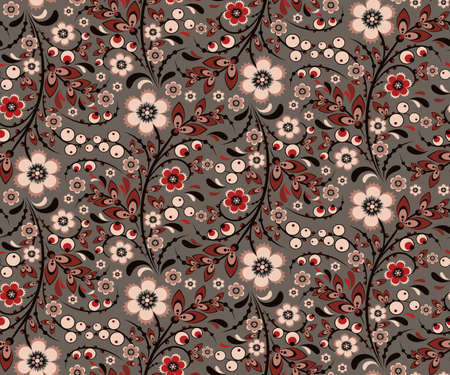 Seamless floral pattern with traditional russian ornamental flowers in Khokhloma style. Vintage retro grey and red colors. Vector illustration