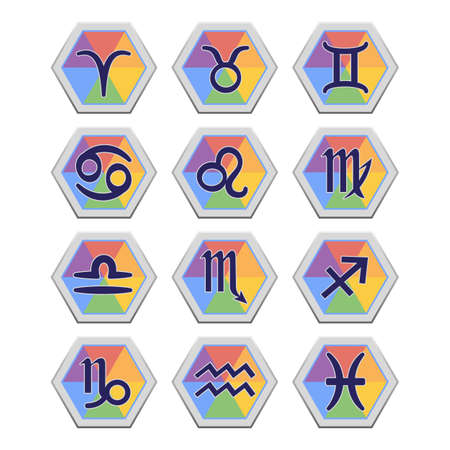 aquarian: Set of flat icons with signs of Zodiac isolated on white background. Symbols of zodiac horoscope. Vector illustration