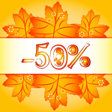 note booklet: Autumn sale banner with sample of percents and orange maple leaves on yellow background. Vector illustration Illustration