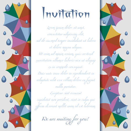 umbel: Invitation card with colorful umbrellas and rain drops in flat style. Trendy autumn 2016 colors. Vector illustration