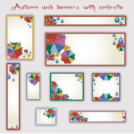 umbel: Templates of web banners in standard sizes with colorful umbrellas and rain drops in flat style. Trendy autumn 2016 colors. Vector illustration Illustration
