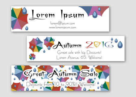 umbel: Templates of banners with colorful umbrellas and rain drops in flat style. Trendy autumn 2016 colors. Vector illustration