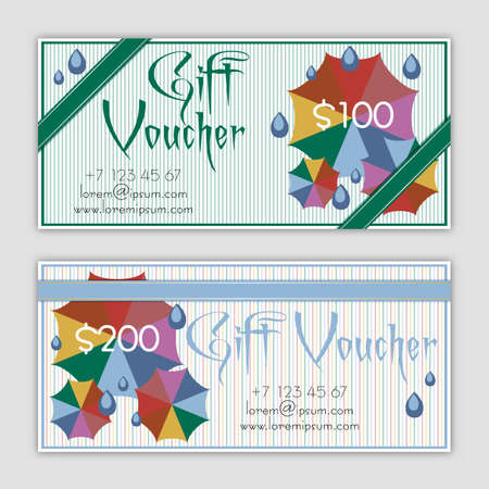 umbel: Templates of gift vouchers with colorful umbrellas and rain drops in flat style. Certificates for presents in trendy autumn 2016 colors. Vector illustration