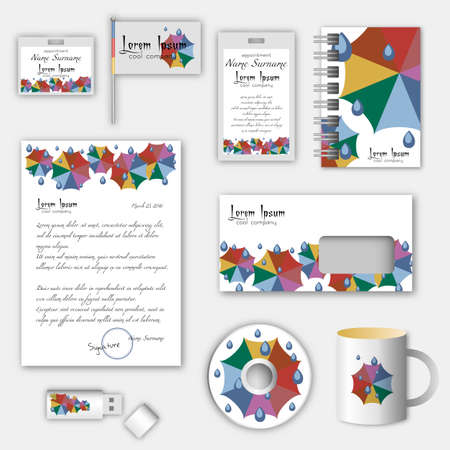 umbel: Design of templates for business corporate style with cartoon rainbow ubrellas in trendy autumn 2016 colors. Vector illustration