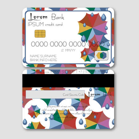 umbel: Template for credit or debit card with colorful umbrellas and rain drops in flat style. Trendy autumn 2016 colors. Vector illustration Illustration