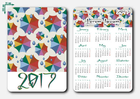 umbel: Template of pocket calendar with grid for 2017 in flat style with colorful weather umbrellas. First day of week - Monday. Suitable for Europe, Britain, part of Asia on english. Vector illustration