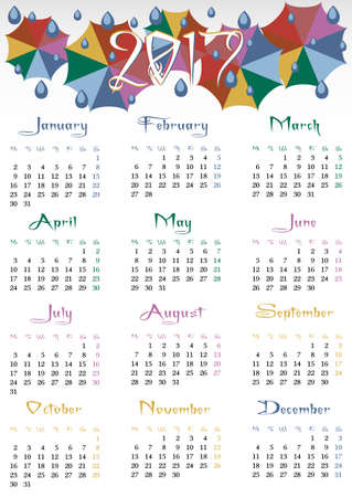 umbel: Calendar design grid for 2017 in flat style with colorful weather umbrellas. First day of week - Monday. Suitable for Europe, Britain, part of Asia on english. Vertical vector illustration