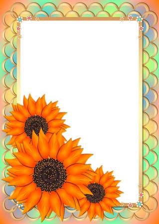 Impressionnant carte de voeux dans le style de scrapbooking avec des tournesols sur le cadre dans les tons orange doux. Vector illustration