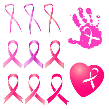 Set of pink ribbon in different versions and three tints of pink isolated on white. National Breast Cancer Awareness Month. Vector illustration