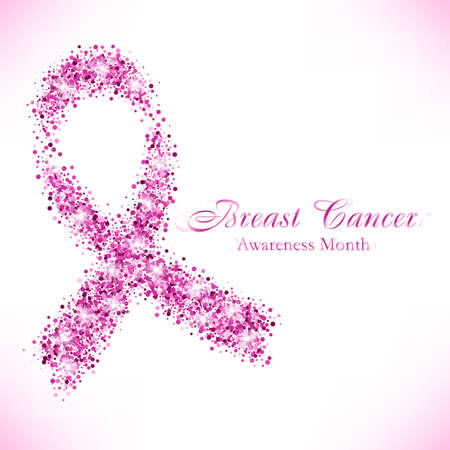Shape of pink ribbon from shiny glitter on white background. National Breast Cancer Awareness Month. Vector illustration 矢量图像