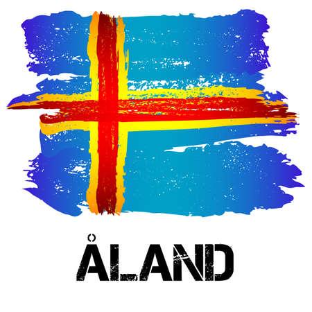 autonomia: Bandera de las islas de Aland de pinceladas en el estilo grunge aislado en el fondo blanco. Europa autonomía dentro de Finlandia. ilustración vectorial
