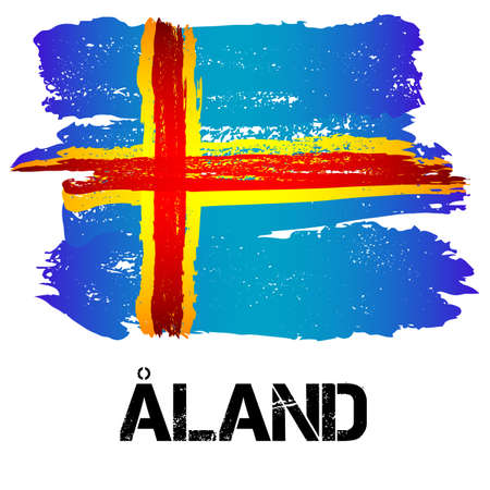 autonom�a: Flag of Aland Islands from brush strokes in grunge style isolated on white background. Europe autonomy within Finland. Vector illustration