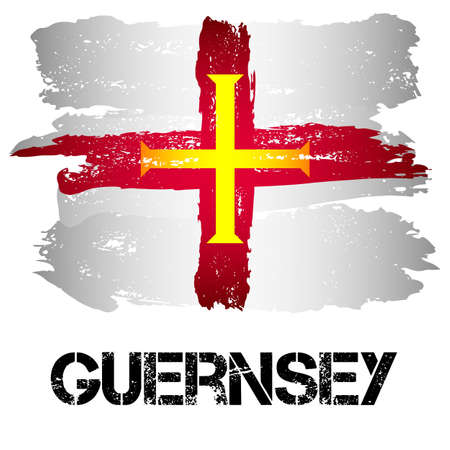 bailiwick: Flag of Bailiwick of Guernsey from brush strokes in grunge style isolated on white background. Europe crown dependency within Great Britain. Vector illustration