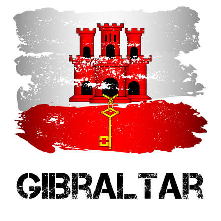 dependency: Flag of Gibraltar from brush strokes in grunge style isolated on white background. Europe crown dependency within Great Britain. Vector illustration
