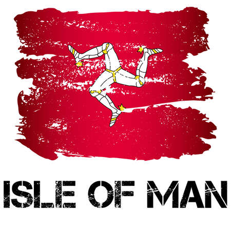 dependency: Flag of Isle of Man from brush strokes in grunge style isolated on white background. Europe crown dependency within Great Britain. Vector illustration