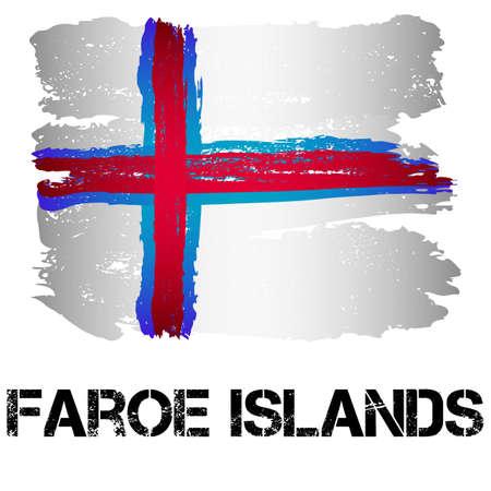 autonomia: Bandera de las Islas Feroe de pinceladas en el estilo grunge aislado en el fondo blanco. Europa autonomía dentro de Dinamarca. ilustración vectorial Vectores