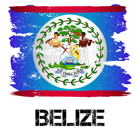 central america: Flag of Belize from brush strokes in grunge style isolated on white background. Country in Central America. Vector illustration