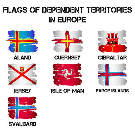 dependent: Set of flags of Europe dependent territories from brush strokes in grunge style isolated on white background. Ensigns of 7 autonomies in Europe. Vector illustration
