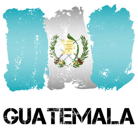 latin america: Flag of Guatemala from brush strokes in grunge style isolated on white background. Country in Central Latin America. Vector illustration