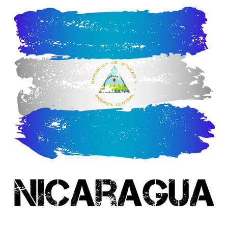 latin america: Flag of Nicaragua from brush strokes in grunge style isolated on white background. Country in Central Latin America. Vector illustration Illustration