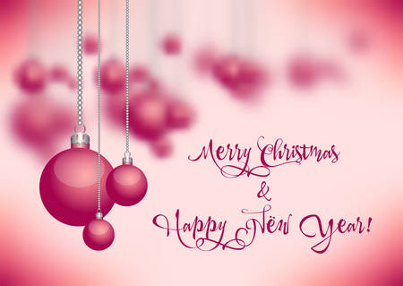 Holiday card with christmas balls for greeting with New Year and Christmas on pink blurred background. Vector illustration Illustration