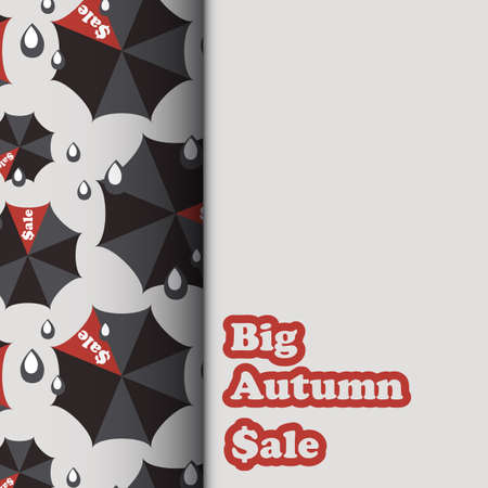 umbel: Sale template with black and red umbrellas and rain drops in flat style. Vector illustration