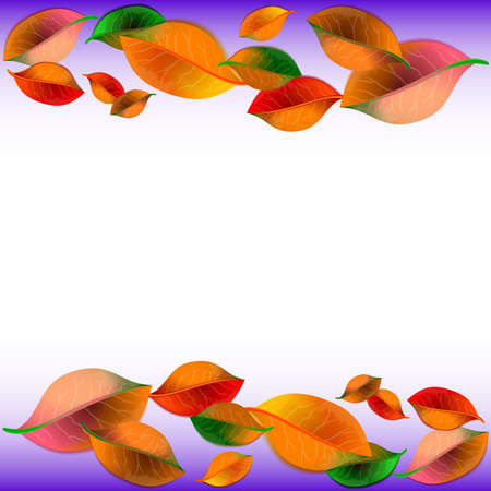 Abstract white background with colorful autumn leaves on top and bottom. Vector illustration Illustration