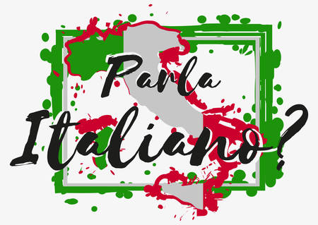 Conceptual lettering with paint splashes in shape of Italy country in green white red colors on grey background. Translation from Italian: Do you speak Italian. Vector illustration