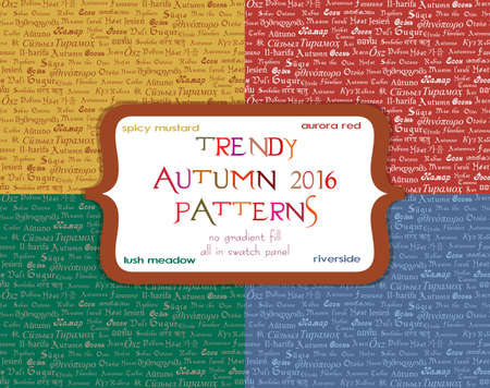 lingual: Set of seamless ornamental patterns with writing of word Autumn in different languages in four trendy autumn 2016 colors. Vector illustration