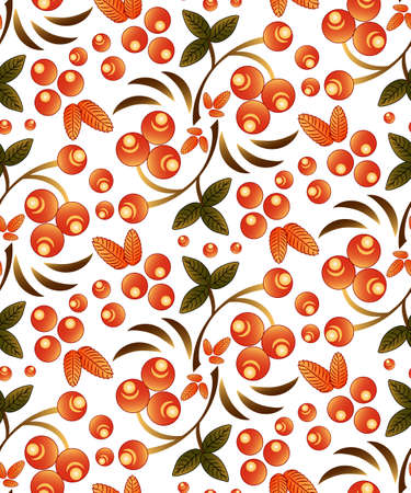 Seamless berry pattern with bunch of orange rowan on white background. Traditional russian Khokhloma ornament. Vector illustration Illustration