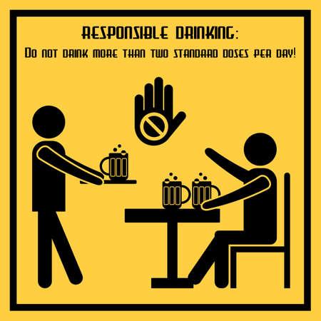 Responsable potable - sociales cartel conceptual acerca de las normas de uso de alcohol. cartel de propaganda en diseño plano. ilustración vectorial